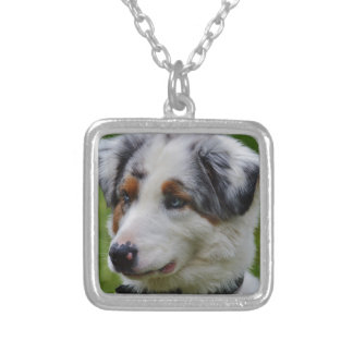 Australian Shepherd Silver Plated Necklace