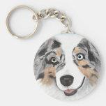 Australian Shepherd ~ Toby Basic Round Button Keychain