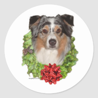 Australian Shepherd Wreath - Sticker