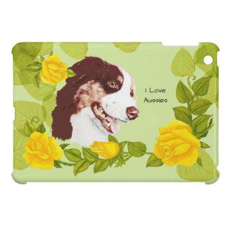 Australian Shepherd, Yellow Roses and Green Leaves iPad Mini Cases
