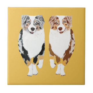 "Australian Shepherds 4"" Ceramic Tile"