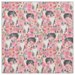 Australian Shepherds fabric florals pattern