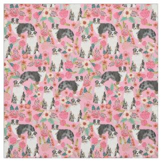 Australian Shepherds fabric florals pattern