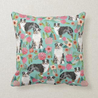 Australian Shepherds Florals Pillow