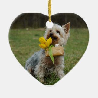 Australian Silky Terrier Dog Ceramic Heart Ornament