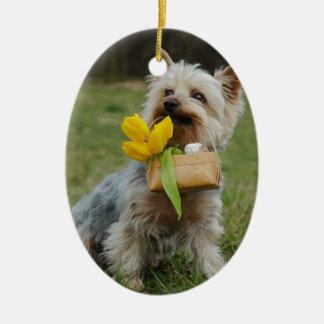 Australian Silky Terrier Dog Ceramic Oval Ornament