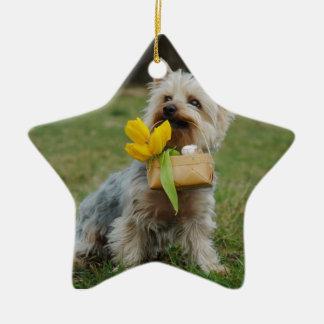 Australian Silky Terrier Dog Ceramic Star Ornament