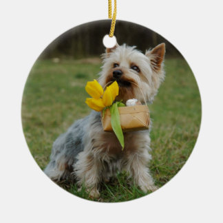 Australian Silky Terrier Dog Round Ceramic Ornament
