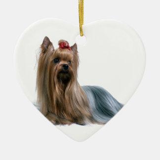 Australian Silky Terrier Dog Show Dog Ceramic Heart Ornament