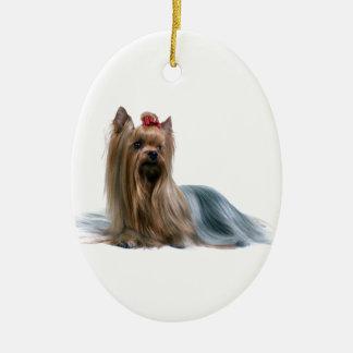 Australian Silky Terrier Dog Show Dog Ceramic Oval Ornament