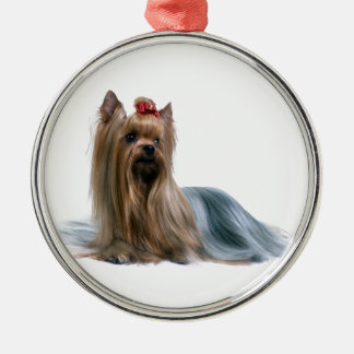 Australian Silky Terrier Dog Show Dog Silver-Colored Round Ornament