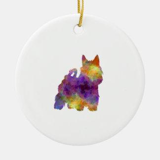 Australian Silky Terrier in watercolor Round Ceramic Ornament