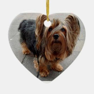 Australian Silky Terrier Puppy Dog Ceramic Heart Ornament