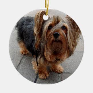 Australian Silky Terrier Puppy Dog Round Ceramic Ornament