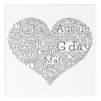 Australian slang heart acrylic print