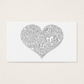 Australian slang heart business card