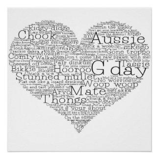 Australian slang heart perfect poster