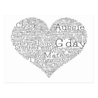 Australian slang heart postcard