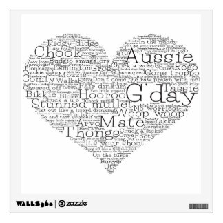 Australian slang heart wall decal