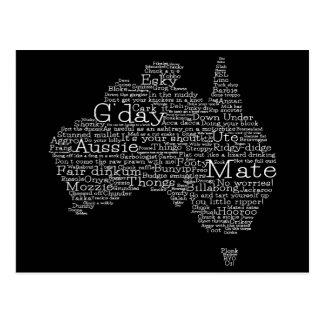 Australian slang map postcard