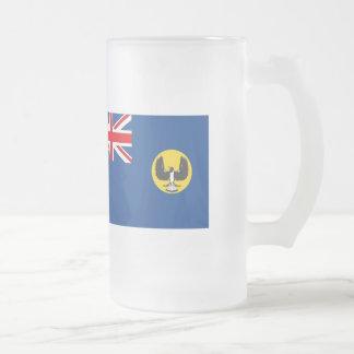 Australian South Australia Flag Frosted Glass Beer Mug
