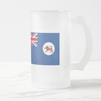 Australian Tasmania Flag Frosted Glass Beer Mug