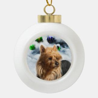 Australian Terrier Christmas Ceramic Ball Ornament