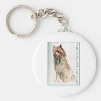 Australian Terrier sit Basic Round Button Keychain