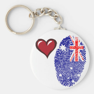 Australian touch fingerprint flag basic round button keychain