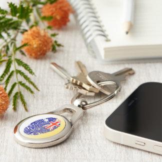 Australian touch fingerprint flag Silver-Colored oval keychain