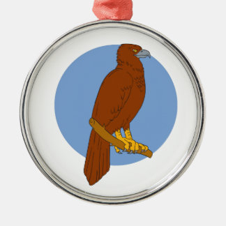 Australian Wedge-tailed Eagle Perch Drawing Silver-Colored Round Ornament