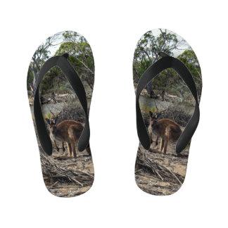 Australian Wild Bush Kangaroo, Kid's Flip Flops