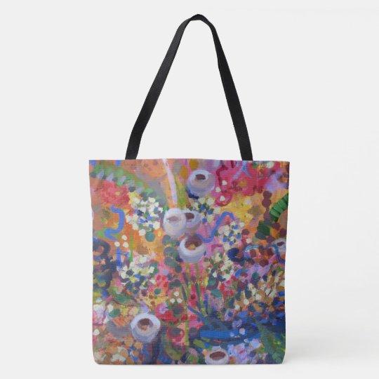 Australian wildflower art business card tote bag