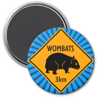 Australian Wombats Sign 3 Inch Round Magnet