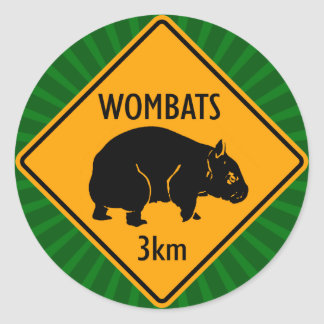 Australian Wombats Sign (pack of 6/20) Classic Round Sticker