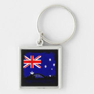 Australiana Silver-Colored Square Keychain