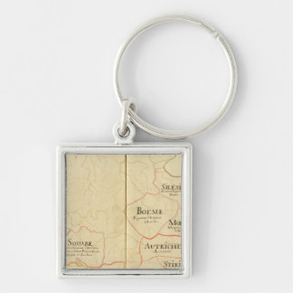 Austria and Czech Republic Silver-Colored Square Keychain