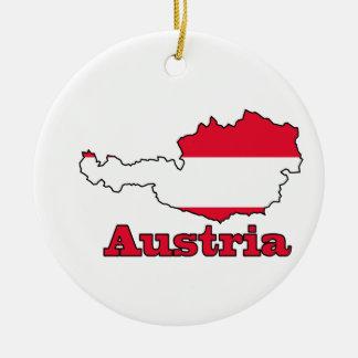 Austria Flag in Map Ceramic Ornament