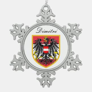 Austria Flag Snowflake Pewter Christmas Ornament