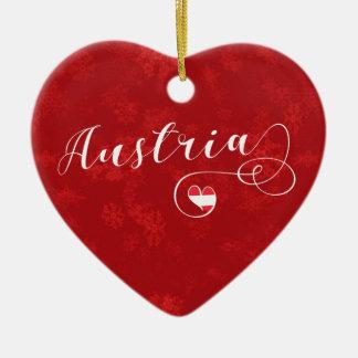 Austria Heart, Christmas Tree Ornament, Austrian Ceramic Ornament