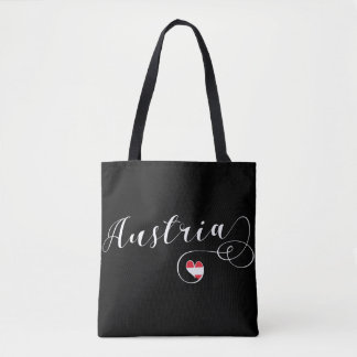 Austria Heart Grocery Bag, Austrian Flag Tote Bag
