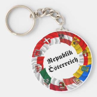 Austria & its Laender Waving Flags Keychain
