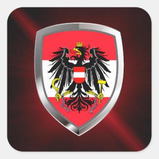 Austria Metallic Emblem Square Sticker