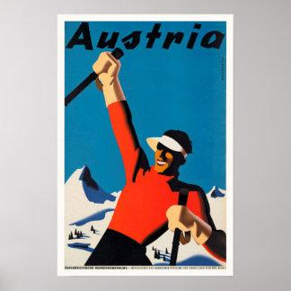 Austria, Mountains Skier Travel Vintage Poster