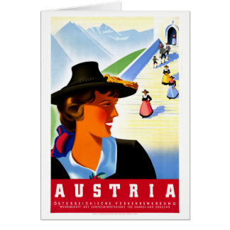 Austria Restored Vintage Travel Poster Card