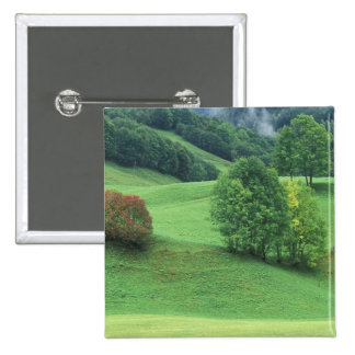 Austria. Rolling green hillside and trees 2 Inch Square Button