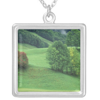 Austria. Rolling green hillside and trees Square Pendant Necklace