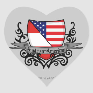 Austrian-American Shield Flag Heart Sticker
