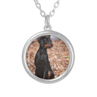 Austrian Black and Tan Hound Puppy Silver Plated Necklace