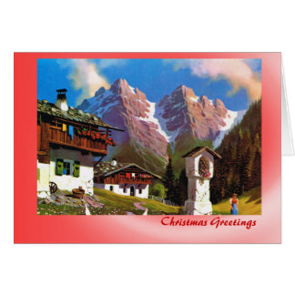 Austrian Christmas, Bildstock Tirolean village Card